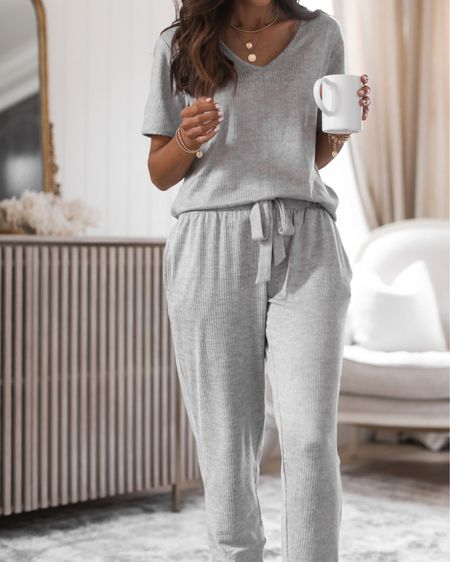 Sale - save 20% on 2+ items- wearing size medium top, small joggers (recommend sizing up in both for more relaxed fit) I'm just shy of 5'7 for reference, pajamas, cozy, loungewear, StylinbyAylin @liketoknow.it #liketkit http://liketk.it/3hUGB                #LTKsalealert #LTKunder50