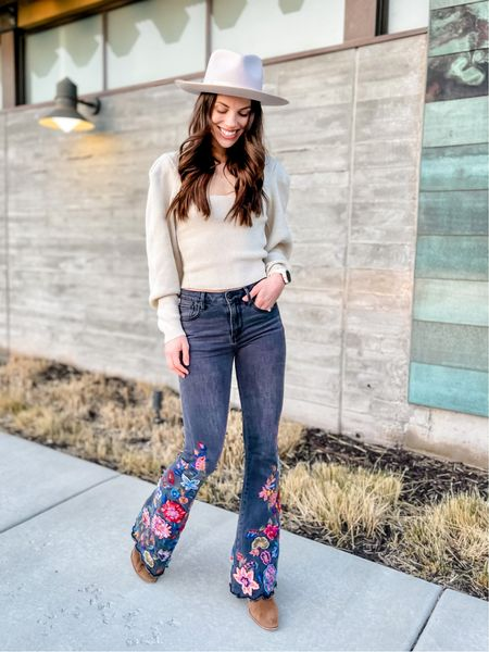Gigi Pip wide brim hat | bubble sleeve sweater | free people | embroidered flare jeans | dolce vita bootie | spring outfit | spring Fashion | Amazon Fashion  Shop my daily looks by following me on the LIKEtoKNOW.it shopping app.   #LTKstyletip #LTKunder100 #LTKSeasonal