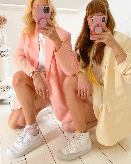 @liketoknow.it #liketkit http://liketk.it/3eRHx lemon yellow and peach pink oversize H&M blazer, satin mini skirt, Nike Air Force 1 and white leather blazers