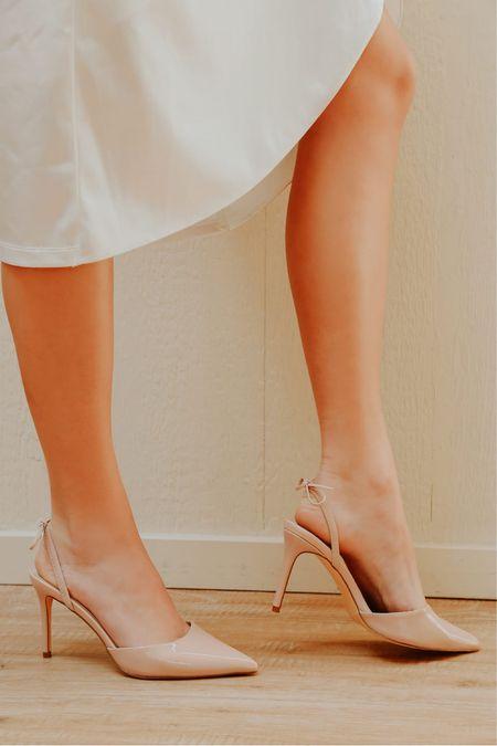 Sagaa Light Nude Patent Pointed-Toe Slingback Pumps  $38 🤍 Can wear bow in front or back!! 🎀 Lulus high heel pumps, wedding heels, wedding shoes, white pumps, white high heels, white chunky heels, white heels with gold heel @shop.ltk #liketkit #LTKstyletip #LTKshoecrush #LTKcurves #LTKitbag #LTKsalealert #LTKwedding #LTKfit #LTKunder50 #LTKworkwear #LTKunder100 #LTKstyletip #lulus # #LTKHoliday #LTKGifts