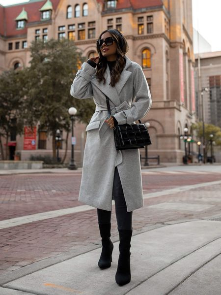 Fall outfit from Express Gray wool coat wearing an XXS Black bodysuit wearing an XXS Express gray denim wearing a 00 Express black sock booties   #LTKsalealert #LTKunder100 #LTKworkwear