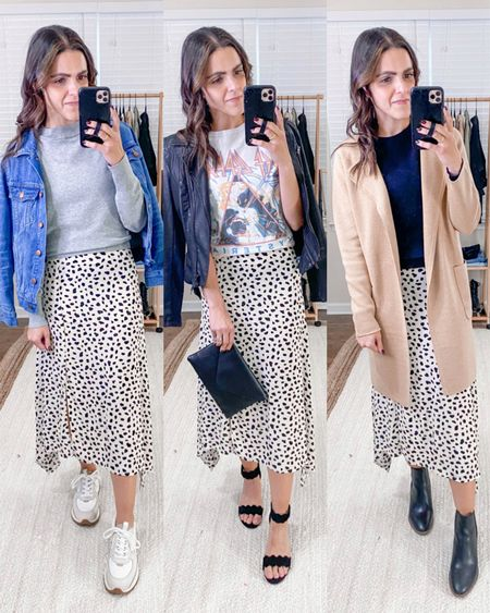 Fashion capsule week 2: ways to style a leopard midi skirt - casually with a denim jacket & trainer sneakers,  edgy with a graphic tee & leather jacket, or dressy casual with a camel coatigan &  boots!  #LTKunder100 #LTKunder50 #LTKstyletip
