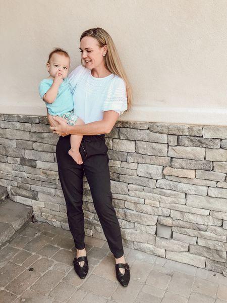 Easy #momstyle -Black track pants + White puff sleeve tee 🖤🤍   #LTKunder50 #LTKsalealert