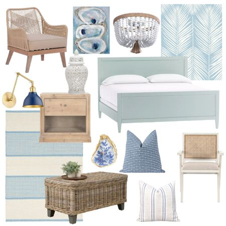 Today's daily decor finds include some great furniture and lighting dupes, my favorite wallpaper in a new color and some coastal furniture and accessories!    http://liketk.it/3cMNr #liketkit @liketoknow.it @liketoknow.it.home #LTKhome #LTKsalealert #LTKunder100 blue bed, blue wallpaper, palm leaf wallpaper, rope chair, striped rug, beaded flushmount, blue pillow covers, white cane dining chair, coastal artwork, wood nightstand, rattan coffee table, coastal home decor