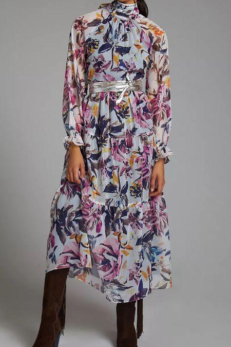 Floral chiffon high neck maxi dress  #LTKSeasonal #LTKwedding #LTKHoliday
