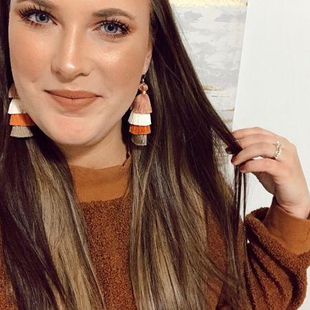 Tassel Earrings are from JamieRy.com - Sweater Weather🍂 Lip is Dose of Colors - Knock on Wood http://liketk.it/2HXTU #liketkit @liketoknow.it #LTKholidaystyle #LTKbeauty