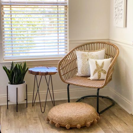 """My favorite space for morning quiet time. I purchased a 3pc """"conversation"""" patio set years ago that was one of my best decisions. One chair is in my bedroom, one in the guest room, and the table elevates a plant behind my couch. The style flows perfectly with each room the pieces are in. http://liketk.it/36sgW #liketkit @liketoknow.it"""