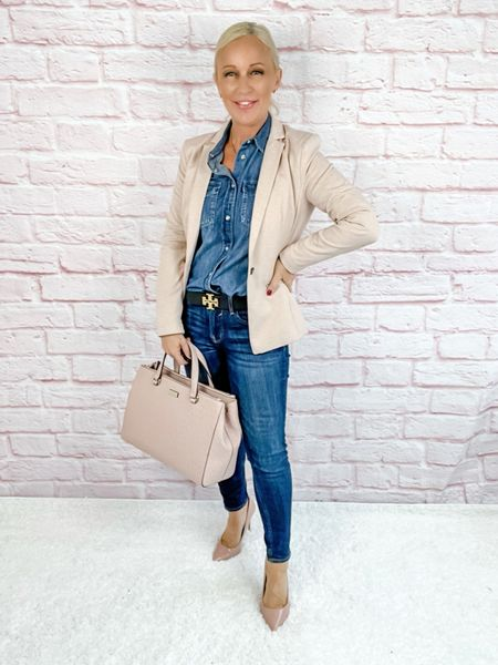 Blazer Look / Work Blazer / Workwear / Work Wear / Office Look / Office Outfit / Business Casual / Office Casual / Work Outfit / Tory Burch / Kate Spade /  Coach Handbags / Handbag /petite / over 40 / over 50 / over 60 / Fall Outfit / Fall Fashion    #LTKworkwear #LTKitbag #LTKSeasonal