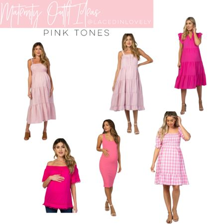 Cute Maternity styles in pink tones! These maternity styles are comfy and great quality. Pink Blush has a discount code at the top of their website that changes daily. Today it is code SWEETDEAL for 30% off dresses. 25% off bottoms, and 20% off tops.  I wear a size medium unless otherwise noted!  #LTKbump #LTKsalealert #LTKstyletip