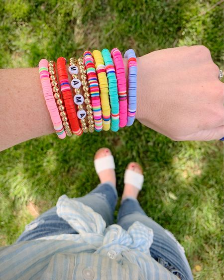 """My thoughts on every fashion trend: """"Where can I find the most affordable version of that?"""".😆 I found a great, inexpensive, version of these colorful bracelets last fall and was waiting to see if they'd be popular again this spring... all systems go, I added to cart! And this entire stack only totals $7!! (and there is Free Shipping today!) Shop by clicking the link in my profile, or by following me in the LIKEtoKNOW.it app.   #LTKstyletip #LTKunder50"""