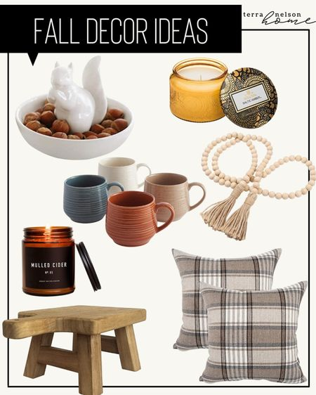 Plaid pillows, throw pillows, studio McGee style, amber interiors, fall candle, fall coffee mugs, neutral home decor, plant stand, riser for hand soap, wooden beads, Amazon home decor,   #LTKHoliday #LTKhome #LTKSeasonal