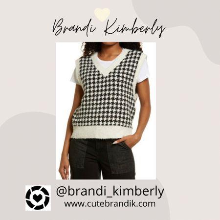 Cute houndstooth sweater vest brining back the retro + 90's style  Place it over an oversized button up  #LTKbacktoschool #LTKSeasonal #LTKstyletip