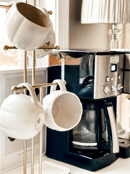 Fall Coffee Mugs. Pumpkin Mugs. Pottery Barn mugs. White kitchen. Cuisinart Coffee Maker. Coffee Bar. #potterybarn   #LTKunder50 #LTKhome #LTKSeasonal