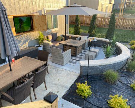 Patio and deck furniture, rug, umbrella and grill http://liketk.it/3f8ID #liketkit @liketoknow.it