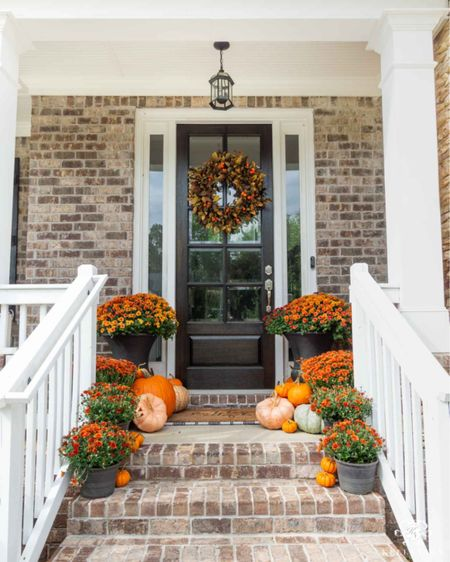 I'm going for last year's look on this year's fall front porch. Home decor fall decor fall wreath door mat under mat black urn front porch decor  #LTKhome #LTKSeasonal #LTKstyletip