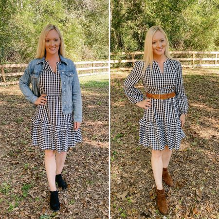 Love this dress! It has pockets. It's lined! And so versatile. My belt is thrifted, but I'm linking a similar one.  I'm 5'4, wearing a small in the dress.  #LTKstyletip #LTKworkwear #LTKunder100