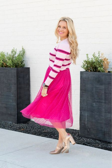 The perfect pink skirt for your holiday season! Use code FANCY15 for 15% off  #LTKunder100 #LTKshoecrush #LTKHoliday