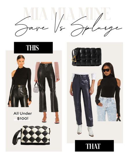 Fall outfit ideas  Black cutout top Faux leather pants from agolde Bottega Veneta bag similar   #LTKstyletip #LTKunder100 #LTKsalealert