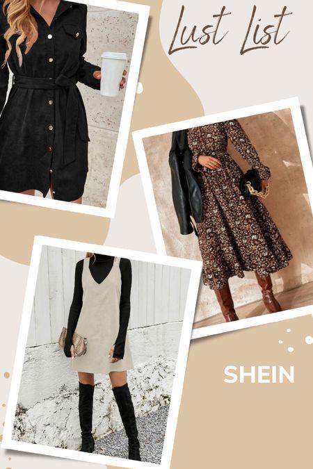 Fall dresses from shein, fall dress, corduroy, shirt dress, midi dress, jumper, preppy, overalls dress   #LTKunder50 #LTKunder100 #LTKstyletip