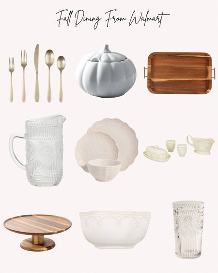 Fall dining, Thanksgiving, dinnerware, Walmart, pumpkin, trays, pitcher, glasses, flatware, bowl, cake stand, soup tureen   Follow me for more ideas and sales.   Double tap this post to save it for later.   #LTKHoliday #LTKSeasonal #LTKunder50