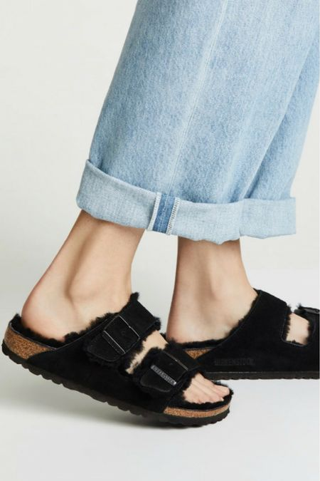 My most popular Birkenstock Summer Sandal now comes in Shearling for transitioning into Fall. It's a great house shoe option! Fall House Shoes, Fall Sandals, Arizona Shearling Sandals,   #LTKSeasonal #LTKshoecrush