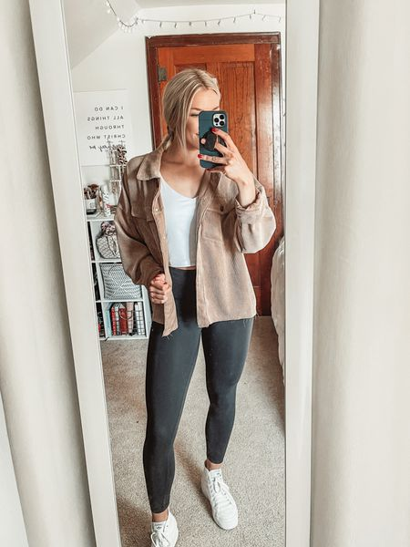 Today's OOTD | wearing size 4 lululemon wunder trains, size medium Amazon tank top, and a size small forever21 corduroy jacket (this one is sold out right now but I linked similar options)    #LTKfit #LTKunder50 #LTKstyletip
