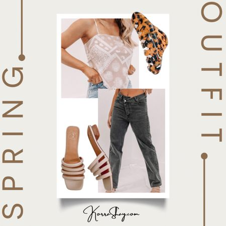 Spring out for idea!   Bandana tops and dark denim are so great for transitioning into the warmer weather. Shop these ones from 201 Lane!  ✨✨✨✨  Bandana top, spring tank, spring tops, warm weather, dark denim, trendy denim, dark jeans, trendy jeans, spring jeans, hair clip, hair claw, neutral sandals, spring fashion, spring outfit, spring ootd