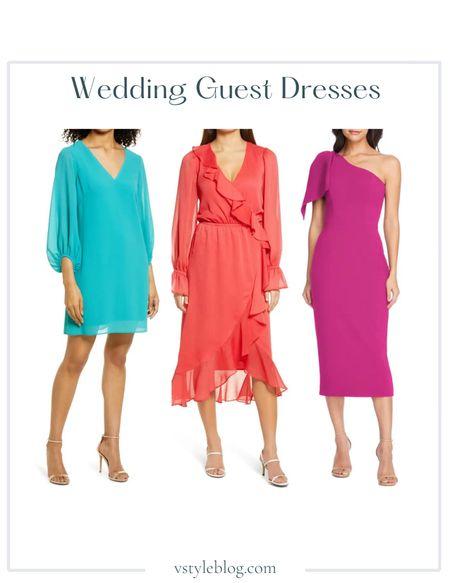 Wedding Guest Dresses, Summer Dress, Midi Dress, Mini Dress  Eliza J V-Neck Chiffon Shift Dress ($128), CHELSEA28 Long Sleeve Ruffle Chiffon Wrap Dress ($99), Dress the Population Tiffany One-Shoulder Midi Dress ($198)  #LTKfit #LTKunder100 #LTKwedding