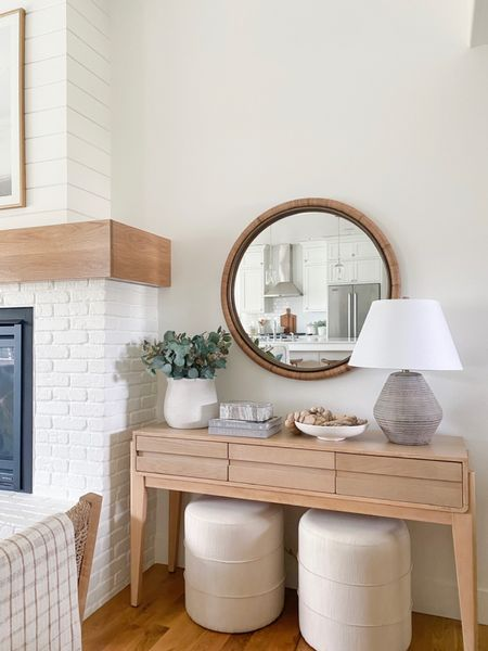 Affordable console table & decor. Upholstered ottoman, lamp, console table & decor all from Target!   You can instantly shop all of my looks by following me on the LIKEtoKNOW.it shopping app http://liketk.it/3gEnl #liketkit @liketoknow.it #LTKunder50 #LTKunder100 #LTKhome @liketoknow.it.home