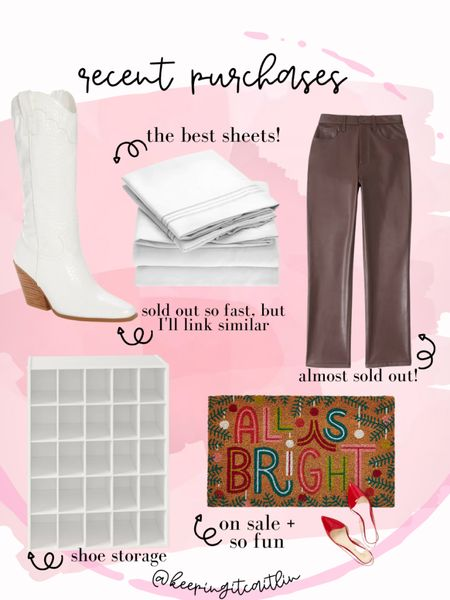 My recent purchases. Leather pants. Sheets. Front door mat. White boots    #LTKunder100 #LTKsalealert #LTKunder50