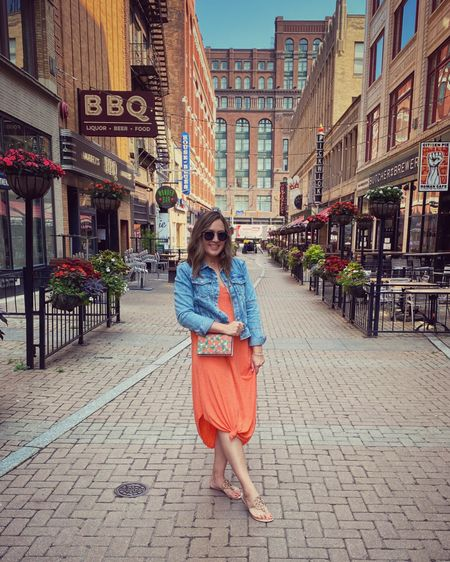 Casual work or travel outfit for summer. Midi cotton dress, Tory Burch sandals, Jean jacket and sunglasses! http://liketk.it/3k4IC #liketkit @liketoknow.it #LTKtravel #LTKworkwear #LTKstyletip