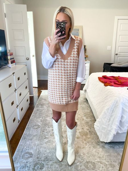 Abercrombie sweater vest dress! Tan Houndstooth with white button down shirt! Size XS in both  #LTKSale #LTKHoliday #LTKSeasonal