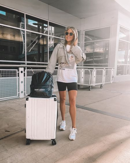 Kicking off September with a fun trip to celebrate another 40th! This cropped jacket from Abercrombie is the perfect fall transition piece. Size DOWN, runs big. Wearing a small but should have gotten an XS. Pair with biker shorts and your fav white sneakers to complete the look.   #LTKunder100 #LTKtravel #LTKSeasonal