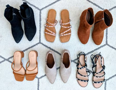 Fall shoe lineup and I am LOVING it! Give me all the fall booties and sandals. 👢👡 Most of these shoes are from Target and under $35! Black stud sandals fit slightly large - all others fit TTS. Black ankle boots, tan stud sandals, brown booties, square toe heels, taupe pointy toe booties, black stud sandals.   #LTKshoecrush #LTKSeasonal #LTKunder50