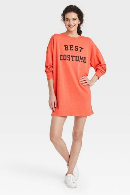 Cute Halloween outfit: sweatshirt dress with checkered mules or combat boots   #LTKHoliday #LTKSeasonal #LTKunder50