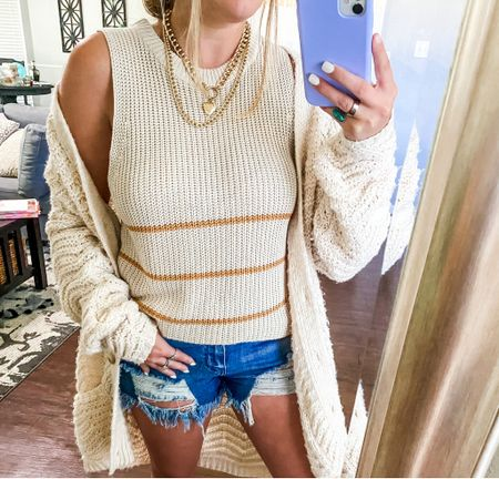 Amazon vacation outfit, vacation outfits, vacation style, affordable vacation outfits, amazon travel outfit, amazon beach outfits, knit top, knit cami, beige knit tank top, cable knit sweater, summer outfit, spring outfit, summer nights, beach outfit  #LTKstyletip #LTKtravel #LTKunder50