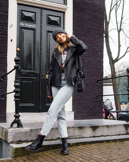 Edge up a classic t shirt and jeans look with an oversized leather jacket and a pair of biker boots    @liketoknow.it http://liketk.it/2K5r6 #liketkit