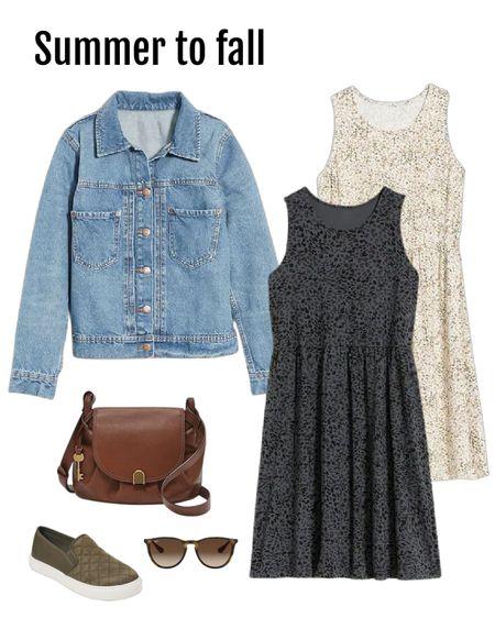 Love a versatile sleeveless dress. Top with denim jacket for fall.  Fossil cross body bag, #walmartfind shoes, Amazon RayBan sunglasses.  #ltkunder50  #LTKstyletip #LTKsalealert #LTKSeasonal