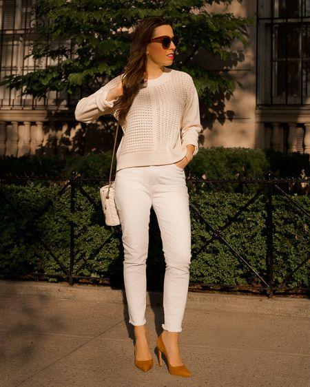 Crochet sweater in Small, white jeans in size 26, casual outfit weekend style, open stitch, ivory crew neck sweater -   #liketkit #LTKunder50 #LTKsalealert #LTKitbag @shop.ltk   #LTKunder50 #LTKsalealert