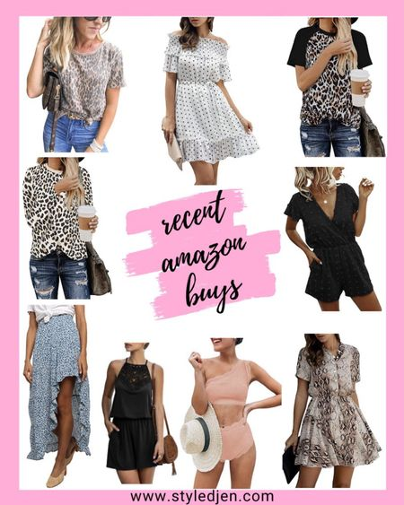 Amazon woman's summer clothing finds: leopard t-shirt tee, floral maxi skirt, black romper, scallop high waist bikini, snakeskin dress, leopard long sleeve, polka dot dress     #LTKstyletip #LTKunder100 #LTKunder50