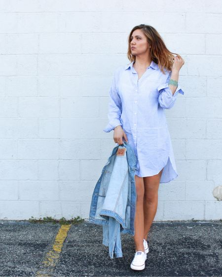 It's supposed to get in the 60's this week and you know what that means: going pantless (after a heavy layer of fake tan on bright white legs) in shirt dresses, converses and denim jackets. 🌞💃🏻    http://liketk.it/2ASkx #liketkit @liketoknow.it #themomedit #themomeditstyle #LTKunder50 #LTKunder100 #LTKstyletip #LTKshoecrush