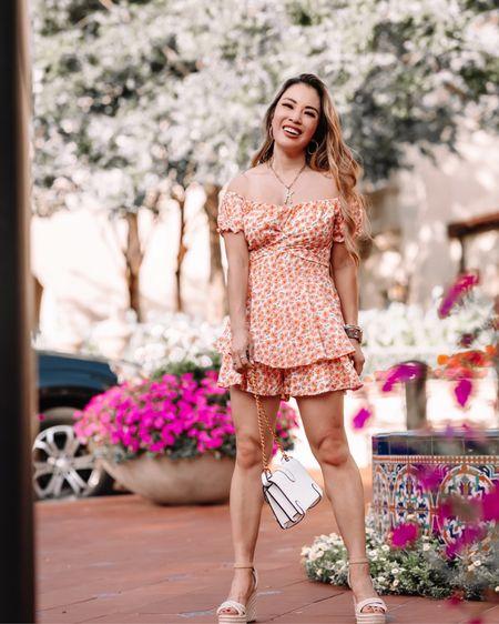 Amazon floral off shoulder romper - S Espadrille platform wedges  Amazon Gucci bag dupe   @liketoknow.it http://liketk.it/3hIqw #liketkit #LTKunder50 #LTKcurves #LTKwedding