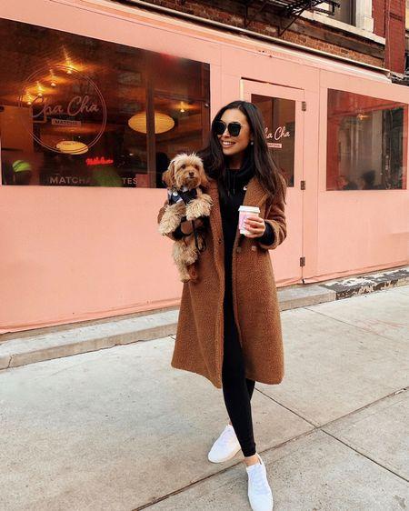Teddy coat with alo leggings and Nike hoodie.   #LTKstyletip #LTKfit #LTKshoecrush