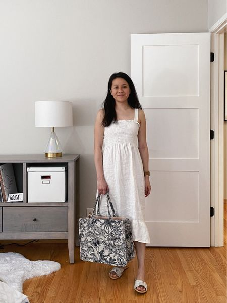 Summer ready with a #memade white linen shirred midi dress and an affordable Dior book tote alternative.  #LTKSeasonal #LTKunder50 #LTKitbag