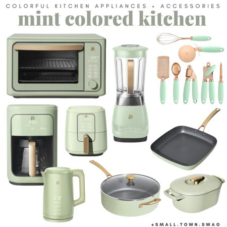 Mint colored kitchen accessories and appliances!  If you like what you see, then be sure to head over to Instagram and follow me @small.town.swag! I share more of my crazy mom life, fun finds like these, home decor and more there!  Kitchen // kitchen gadgets // appliances // kitchen appliances // drew Barrymore Walmart // Drew Barrymore beautiful line // Walmart home // bowls // bowl // mixing bowls // mixing bowl // measuring cup // measuring cups // measuring spoon // measuring spoons // toaster // air fryer // blender // toaster oven //coffee maker // knife block // pots and pans // Dutch oven// kitchen pans // frying pans // pot // pots // knives // modern kitchen // toaster // cookware // white utensils // bread container // bakeware // flatware // dash appliances // Amazon home // Amazon kitchen  #LTKunder100 #LTKhome #LTKfamily
