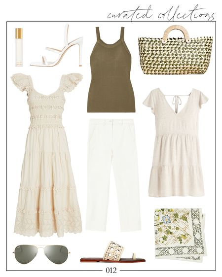 Creamy whites and greens. ✨ 🤍 So many good summer outfit combinations are possible with these pieces! I linked a few similar options at different price points.  summer outfits, summer fashion, large woven tote, green beach bag, Sea Dress, hair scarf, Tory Burch sandals, rayban sunglasses, three strap sandals, heeled sandals white, travel perfume, mango dresses, mango dress, white mini dress, linen dress, summer dresses, summer outfits casual, Natalie Yerger   #LTKSeasonal #LTKDay #LTKunder100
