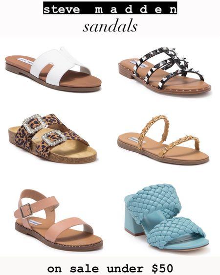 Steve Madden sandals on sale. All of these cute and popular styles are under $50. Selling out fast. http://liketk.it/3k4Zl #liketkit @liketoknow.it #LTKsalealert #LTKshoecrush #LTKunder50
