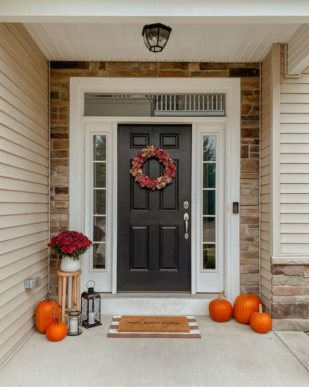 Mission fall porch decor is officially complete. ✔️ Am I the only one who thought pumpkins were like $3/each?! 😅 Definitely not the case, lol. But they sure are cute. 🎃🤍 Have you put out your fall decorations yet?!  #LTKhome #LTKHoliday #LTKSeasonal