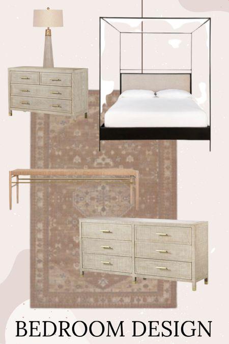 Bedroom design // bed // canopy bed // rug // nightstand // dresser // lamp // bench //   #LTKstyletip #LTKhome