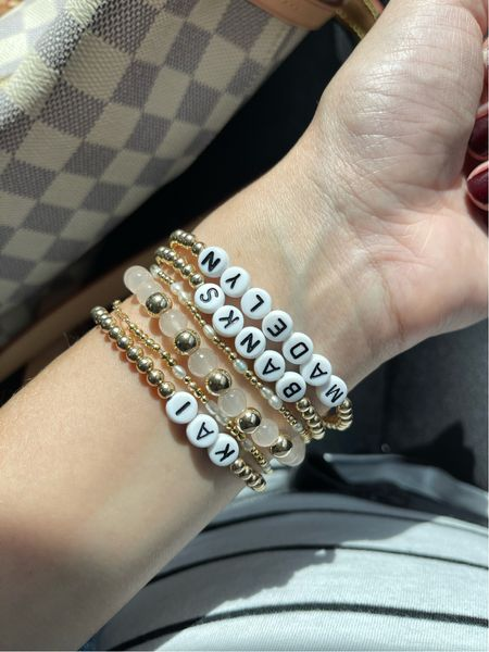 """Personalized name bracelets. Discount code is """"Taylor"""" for that small shop!"""